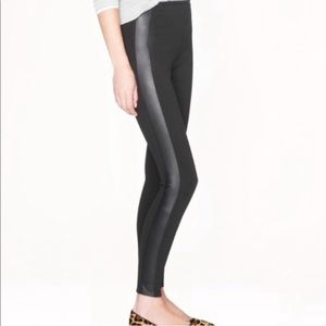 J. Crew pixie pants with leather tuxedo stripe